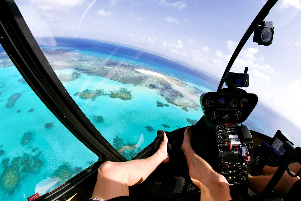 Scenic helicopter flight over the Great Barrier Reef